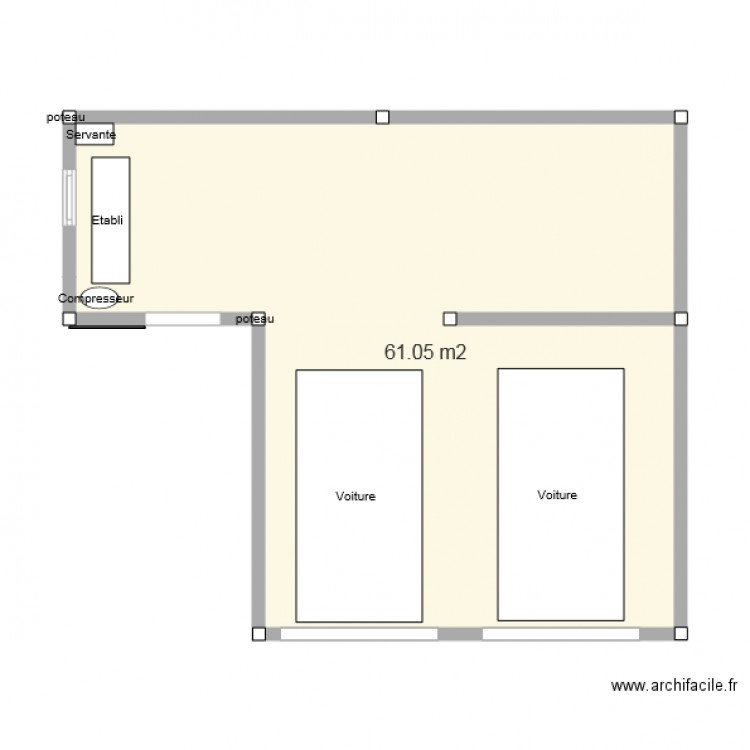 garage double et atelier plan 1 pi ce 61 m2 dessin par fred03. Black Bedroom Furniture Sets. Home Design Ideas