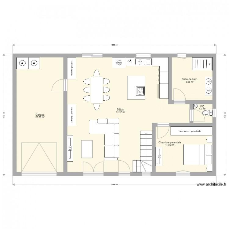 Plan de maison rez de chauss plan 5 pi ces 99 m2 Plan de maison 5 pieces
