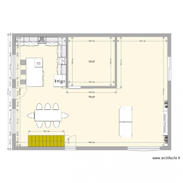 rez de chauss plan 2 pi ces 85 m2 dessin par stef. Black Bedroom Furniture Sets. Home Design Ideas