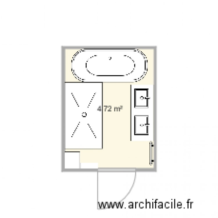 salle de bain 3 plan 1 pi ce 5 m2 dessin par vicwal3. Black Bedroom Furniture Sets. Home Design Ideas
