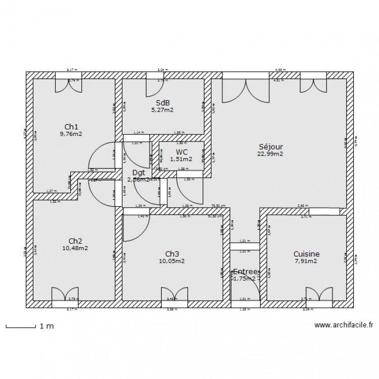 Maison 80m2 Plan 9 Pieces 72 M2 Dessine Par Vals Maxime