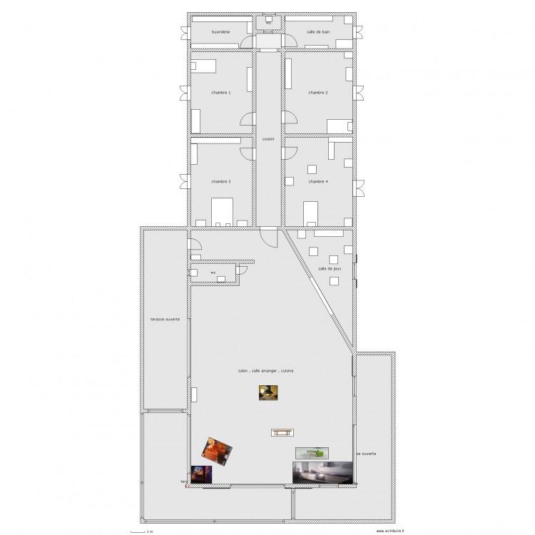 maison algeco ok plan 15 pi ces 493 m2 dessin par dede64. Black Bedroom Furniture Sets. Home Design Ideas