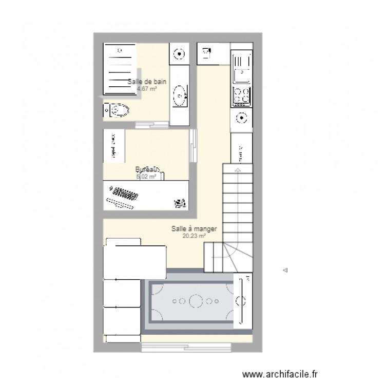 Garage Studio avec Mezzanine - Plan 3 pièces 30 m2 dessiné par abeaume