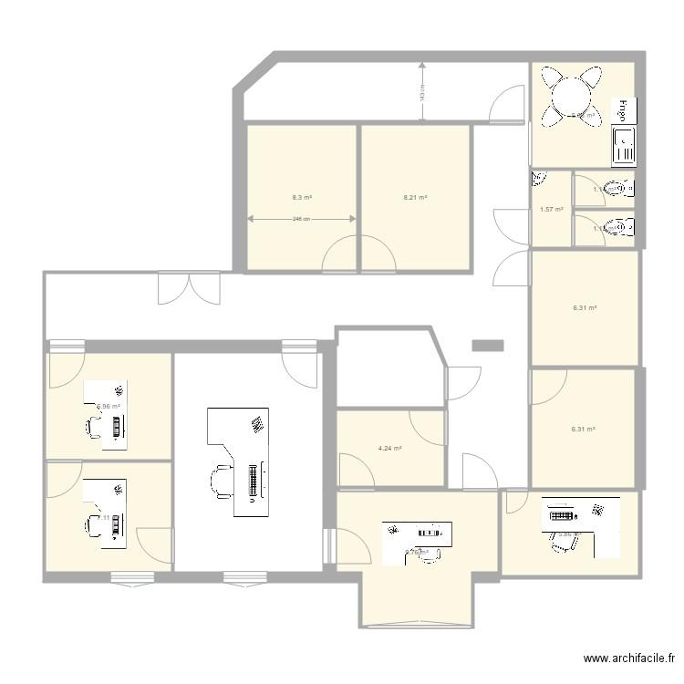 Bureau joffre 2 fl plan 13 pi ces 73 m2 dessin par for Nombre de m2 par personne bureau