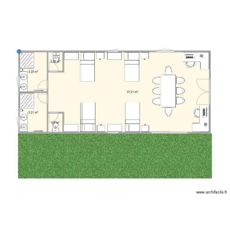 Chalet 6 personnes plan 5 pi ces 45 m2 dessin par for M2 par personne dans un bureau