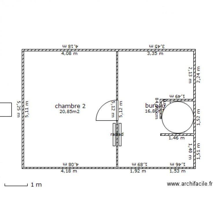 Plan maison etage 1 plan 2 pi ces 38 m2 dessin par for Taille moyenne maison