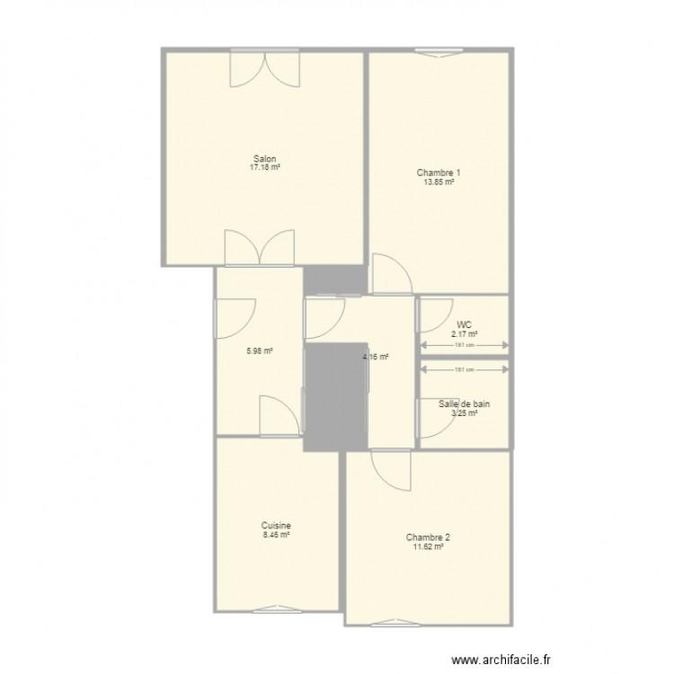 appart approx plan 14 pi ces 70 m2 dessin par romanolp. Black Bedroom Furniture Sets. Home Design Ideas