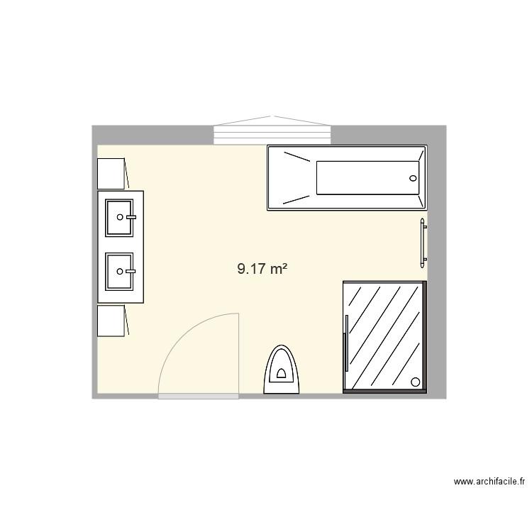 Projet Salle De Bain Champien Plan 1 Pièce 9 M2 Dessiné