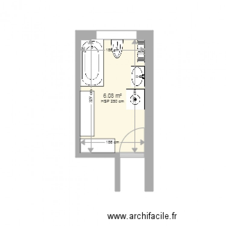 salle de bain me mace plan 1 pi ce 6 m2 dessin par ergoemilie. Black Bedroom Furniture Sets. Home Design Ideas