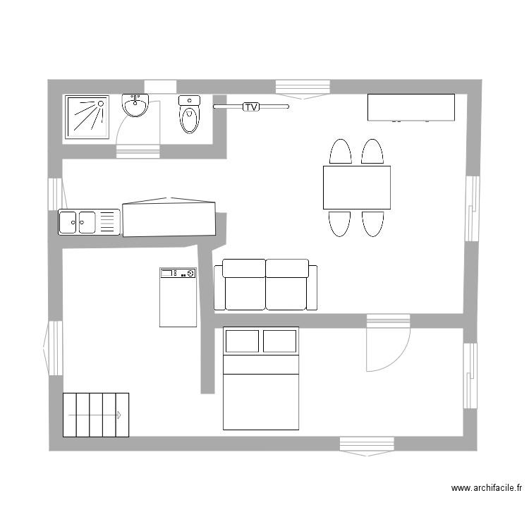plan de maison maman plan 2 pi ces 42 m2 dessin par cheminee. Black Bedroom Furniture Sets. Home Design Ideas