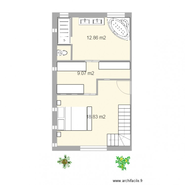 Suite parentale camaret 12 plan 3 pi ces 41 m2 dessin for Plan de suite parentale