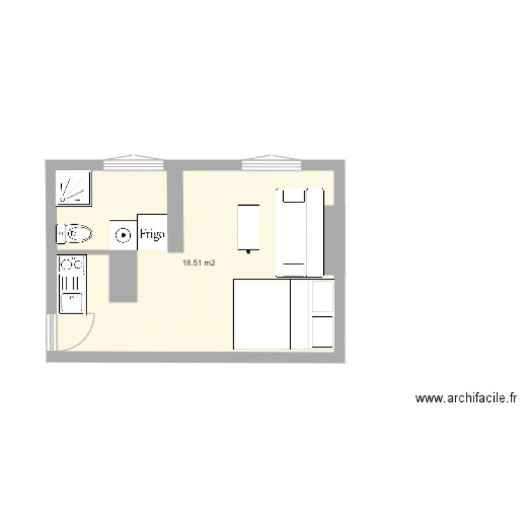studio 20m2 recherche plan 1 pi ce 19 m2 dessin par celialec. Black Bedroom Furniture Sets. Home Design Ideas