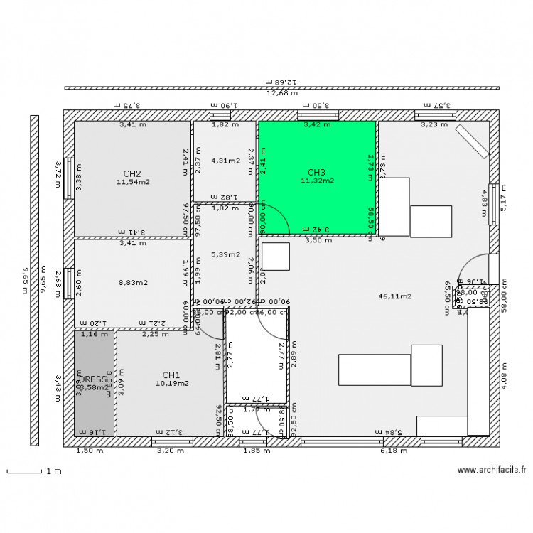 Maison 120 metres carr plan 8 pi ces 101 m2 dessin par for Chambre 8 metre carre