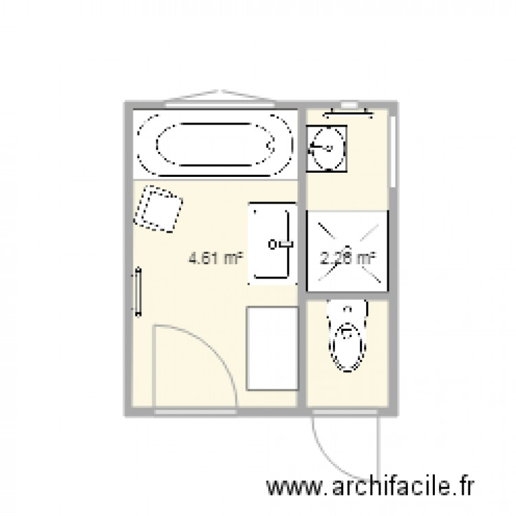 Salle de bain enfants caro plan 2 pi ces 7 m2 dessin - Salle de bain 7 m2 ...