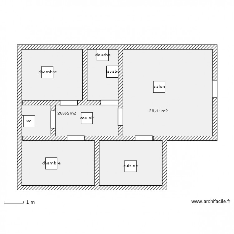 appartement simple plan 2 pi ces 57 m2 dessin par vichafre. Black Bedroom Furniture Sets. Home Design Ideas