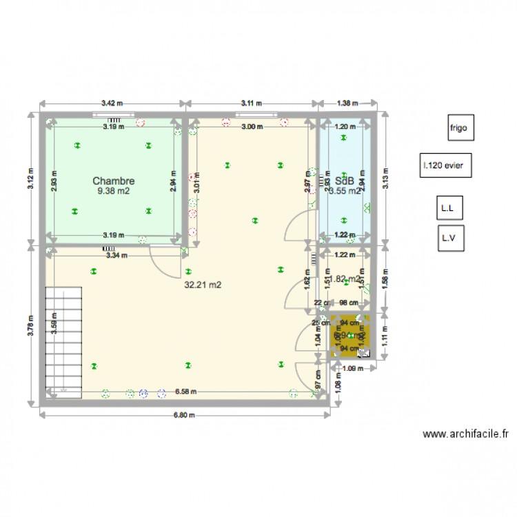 plan livry gargan 4 electrique plan 5 pi ces 48 m2 dessin par blazegui. Black Bedroom Furniture Sets. Home Design Ideas