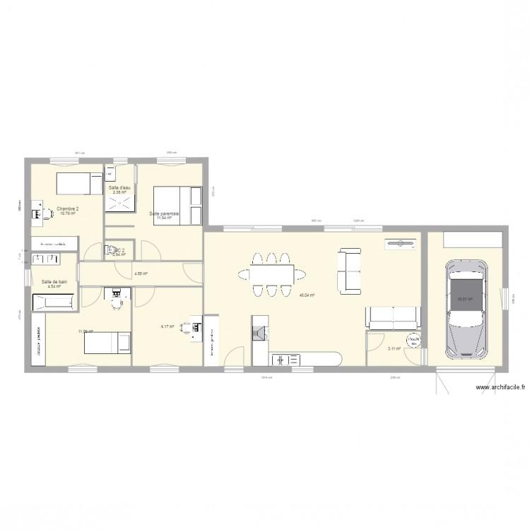 Maison droite 110 garage align plan 11 pi ces 121 m2 for Plan maison garage a droite