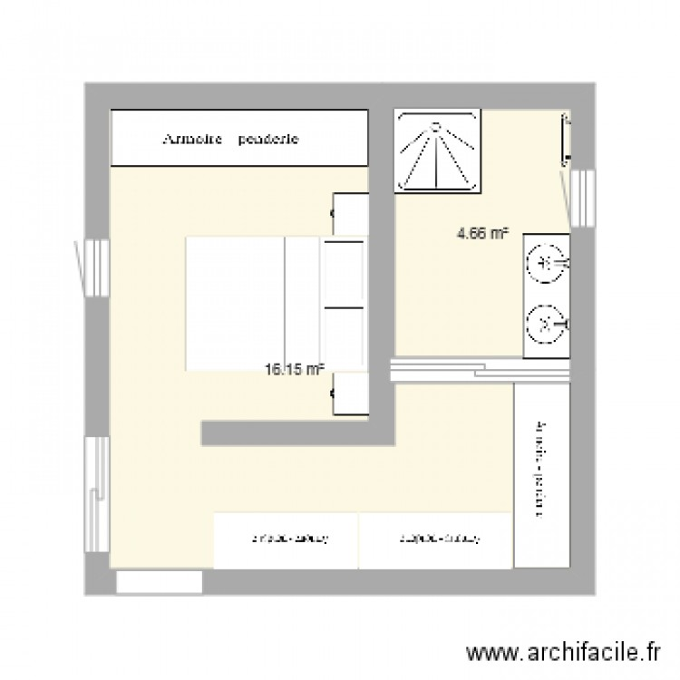 suite parentale plan 2 pi ces 21 m2 dessin par anaconda44. Black Bedroom Furniture Sets. Home Design Ideas