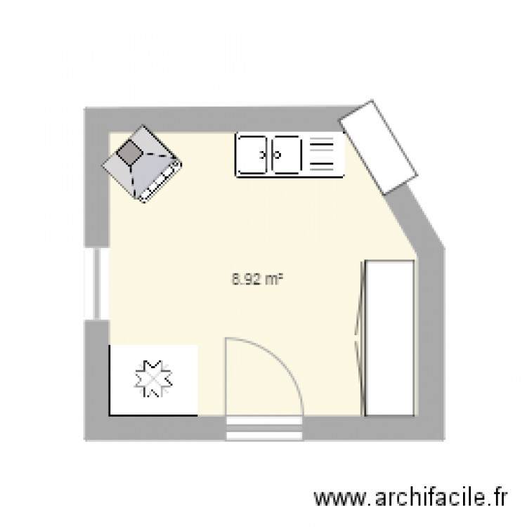 cuisine plan 1 pi ce 9 m2 dessin par nico24300. Black Bedroom Furniture Sets. Home Design Ideas