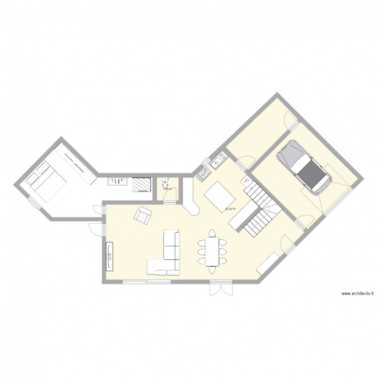 Maison rc plan 2 pi ces 95 m2 dessin par cellia - Plan de maison 2 pieces ...