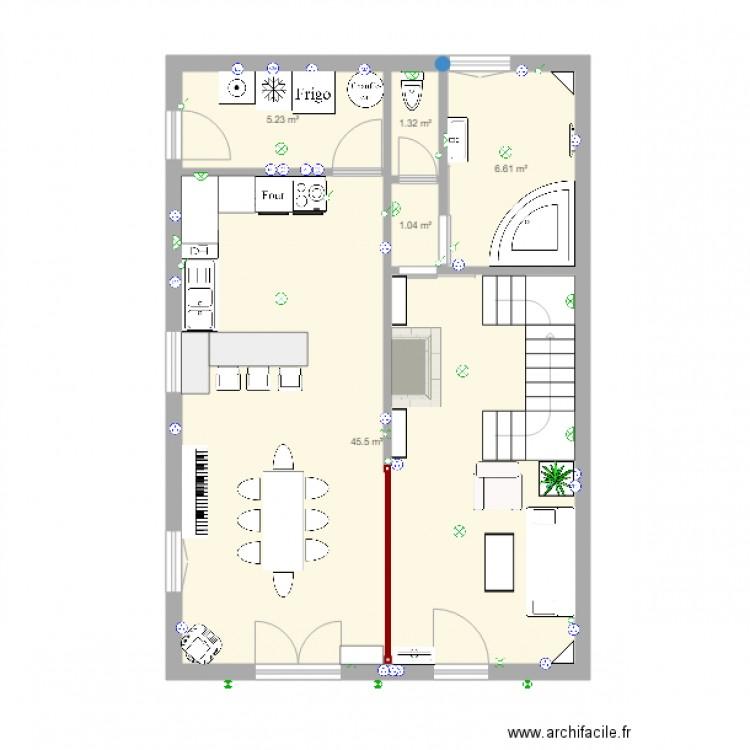 maison marie rdc plan 5 pi ces 60 m2 dessin par ecrins. Black Bedroom Furniture Sets. Home Design Ideas