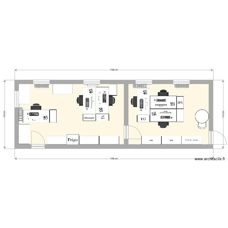 Plan bureau apr s plan 2 pi ces 55 m2 dessin par matha98 for Nombre de m2 par personne bureau