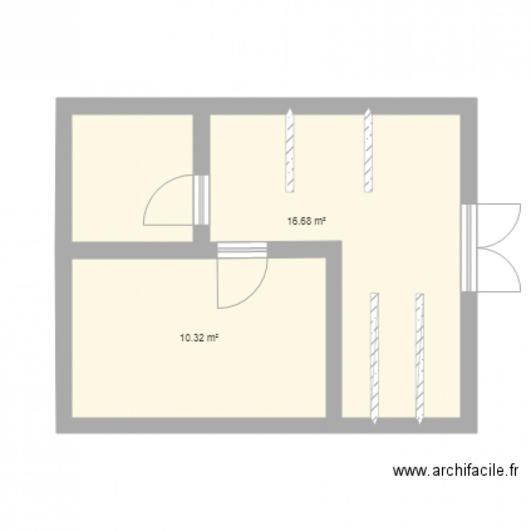 cadre orga plan 2 pi ces 27 m2 dessin par meggy cordelat. Black Bedroom Furniture Sets. Home Design Ideas