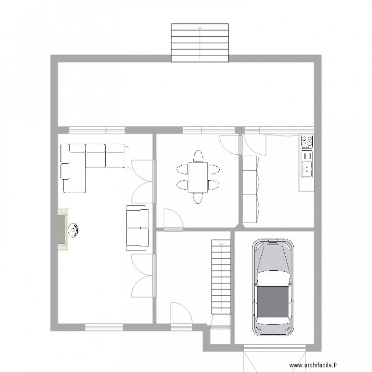 maison meiser rdc plan 4 pi ces 60 m2 dessin par moutont. Black Bedroom Furniture Sets. Home Design Ideas