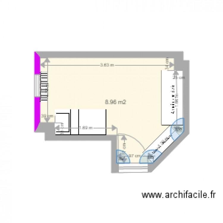 Chambre plan 1 pi ce 9 m2 dessin par gaarick for Chambre 9 m2 minimum