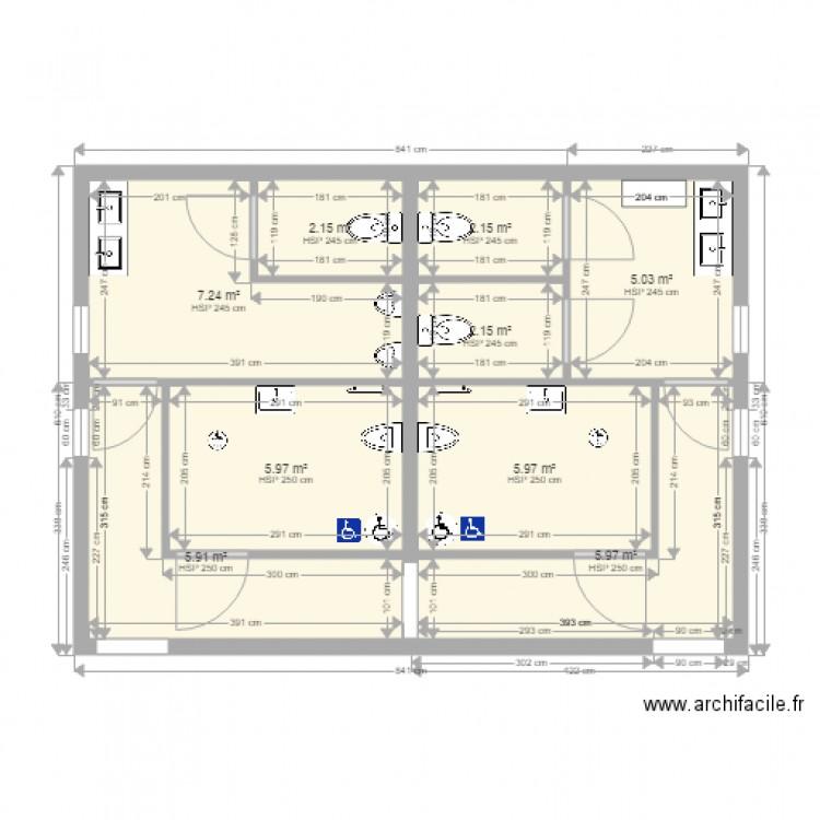 toilette handicap plan 9 pi ces 43 m2 dessin par olivier97442. Black Bedroom Furniture Sets. Home Design Ideas