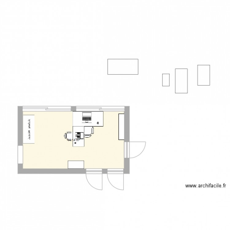 Bureau plan 1 pi ce 14 m2 dessin par stephane0073 for Nombre de m2 par personne bureau