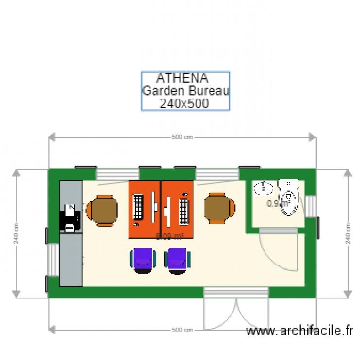 240x500 athena garden bureau plan 2 pi ces 9 m2 dessin for Nombre de m2 par personne bureau