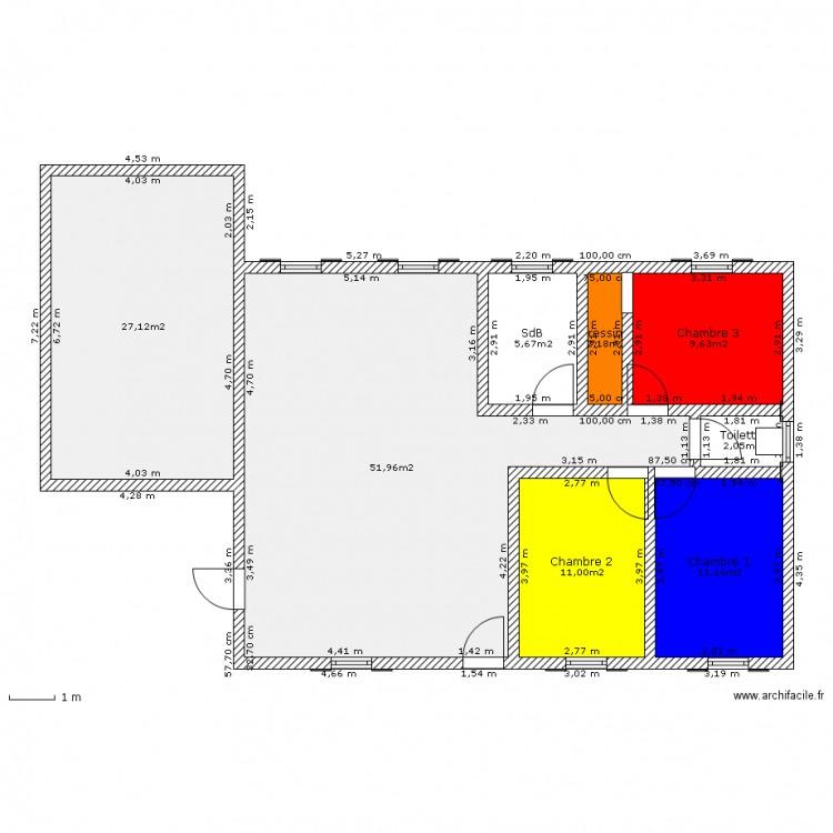 Maison de 90 59 metre carre plan 8 pi ces 121 m2 dessin for Chambre 8 metre carre