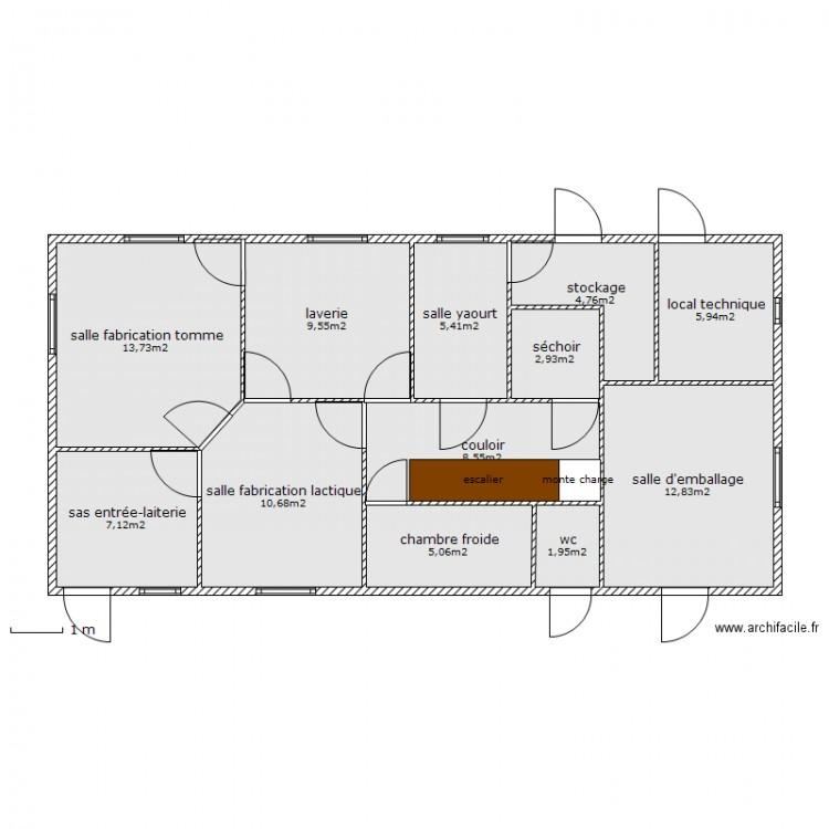 Fromagerie rez de chauss e plan 12 pi ces 89 m2 dessin - Fabrication de yaourt maison ...