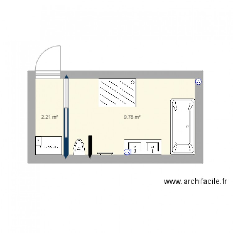 salle de bain 2 plan 2 pi ces 12 m2 dessin par bip36. Black Bedroom Furniture Sets. Home Design Ideas