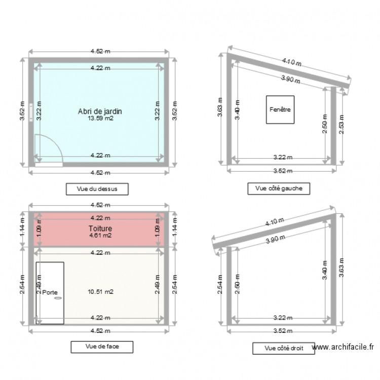 Abri de jardin sol plan 3 pi ces 29 m2 dessin par calietex - Abri jardin grande taille ...