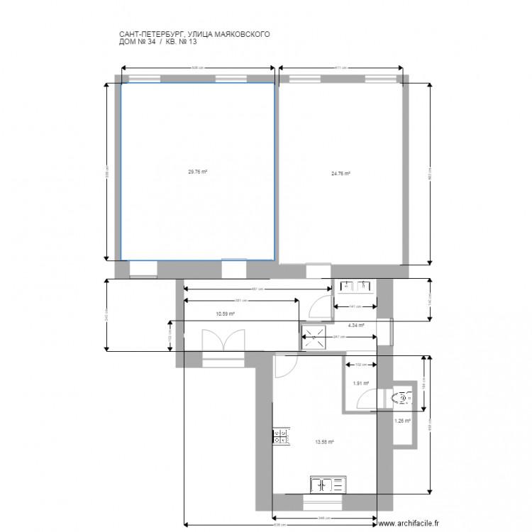 st petersbourg 5 sans meuble et toilette chang plan 7 pi ces 86 m2 dessin par archi00250. Black Bedroom Furniture Sets. Home Design Ideas