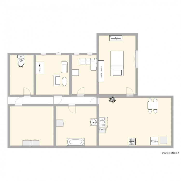 Plan dossirt plan 7 pi ces 162 m2 dessin par zaza62 for 162 plan
