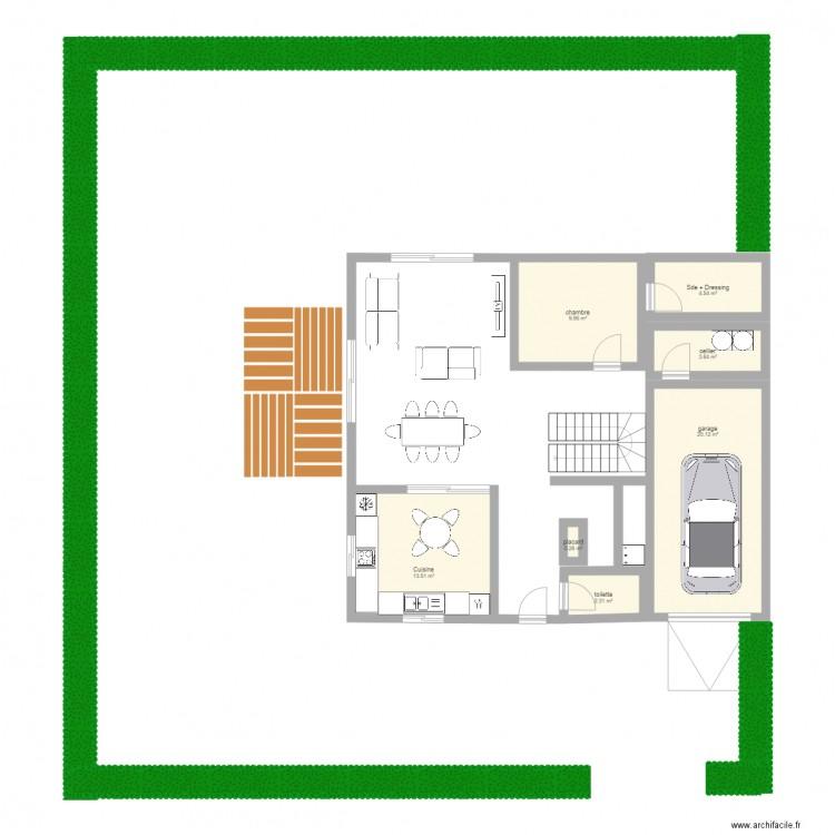 Agencement sur le fond du jardin plan 7 pi ces 54 m2 for Agencement du jardin