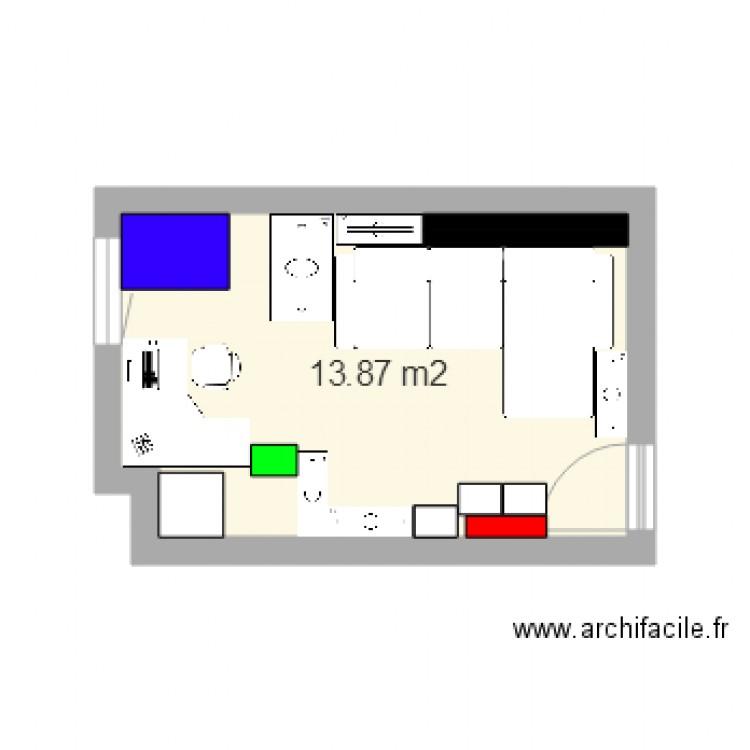 Chambre plan 1 pi ce 14 m2 dessin par humort for Chambre one piece