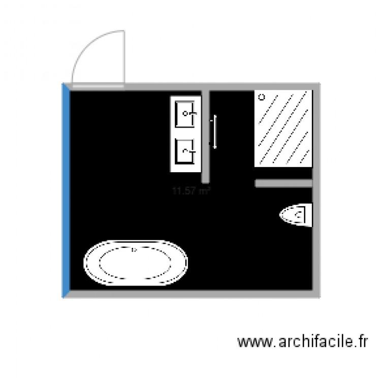 Salle de bain du haut plan 1 pi ce 12 m2 dessin par for Salle de bain 6 5 m2