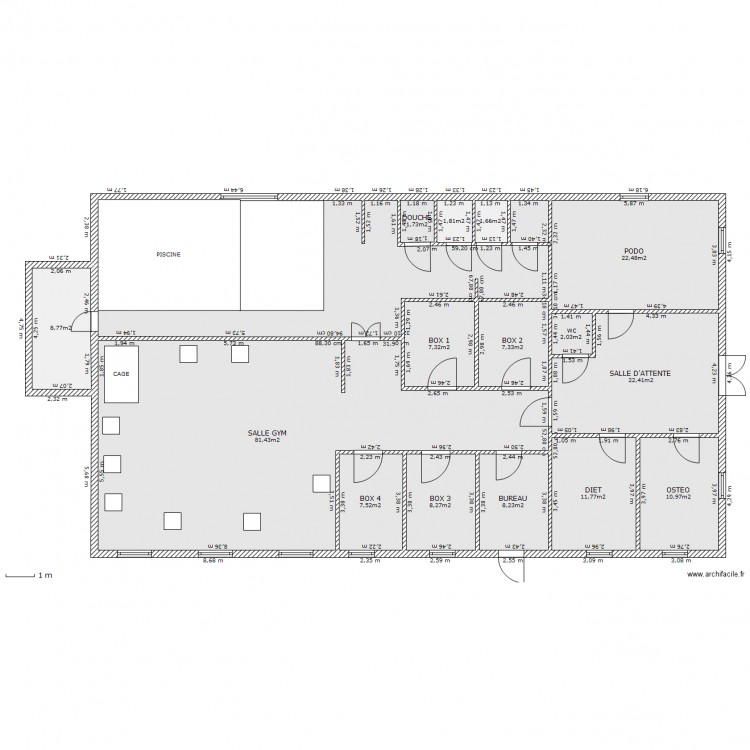 Cabinet kinesitherapie plan 16 pi ces 266 m2 dessin par braunmuleto - Cabinet de kine avec piscine ...
