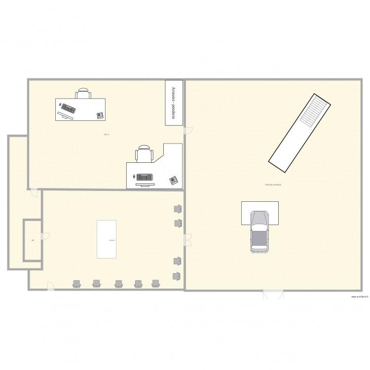plan du centre de contr le technique plan 5 pi ces 996 m2 dessin par saliha1. Black Bedroom Furniture Sets. Home Design Ideas
