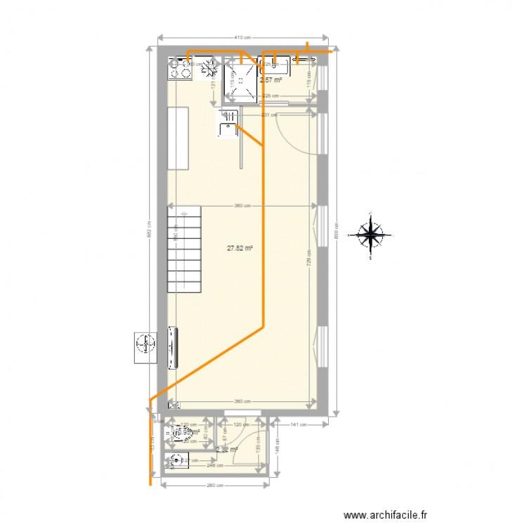 maison basque évacuation eau usées - Plan 4 pièces 34 m2 dessiné par ...