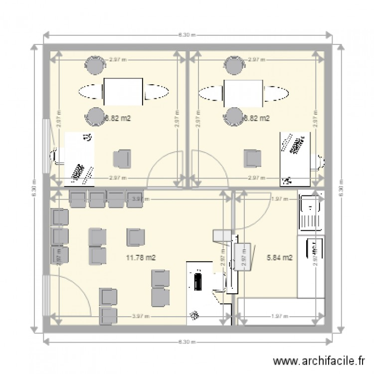 cabinet dentaire plan 4 pi ces 35 m2 dessin par stanis mfulani. Black Bedroom Furniture Sets. Home Design Ideas