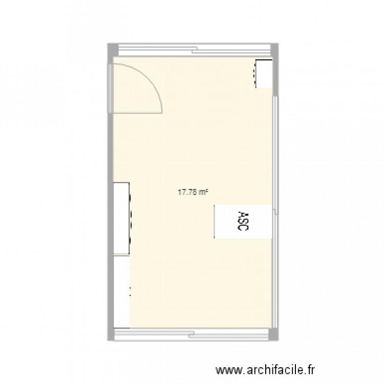 Bureau c lyne plan 1 pi ce 18 m2 dessin par celyne for Bureau petite taille