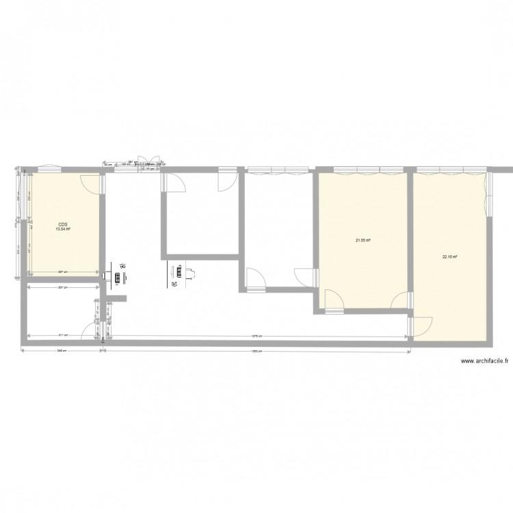 Bureau pole 2 plan 3 pi ces 57 m2 dessin par cbjh for Nombre de m2 par personne bureau