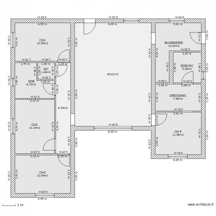 surface 4chambres shon 169m plan 11 pi ces 140 m2 dessin par cecbess. Black Bedroom Furniture Sets. Home Design Ideas