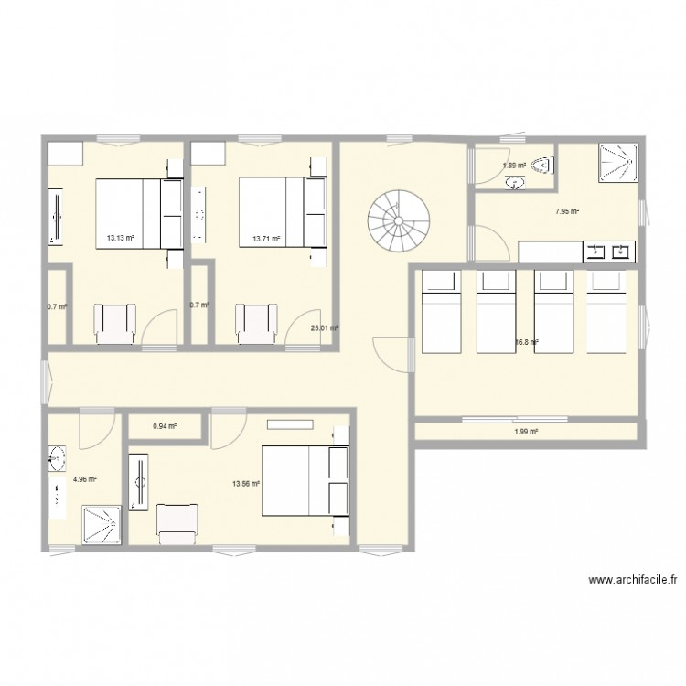 Maison bretagne 1er tage plan 12 pi ces 101 m2 dessin for Plan maison bretagne