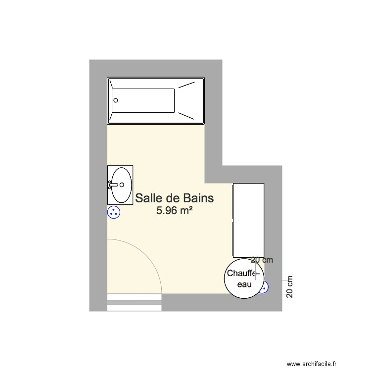 salle de bain plan 1 pi ce 6 m2 dessin par lucilelou. Black Bedroom Furniture Sets. Home Design Ideas
